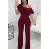 Lovely Casual Dew Shoulder Wine Red Knitting One-piece Jumpsuit