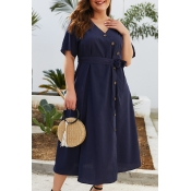 Lovely Plus-size Lace-up Navy Blue Mid Calf Dress