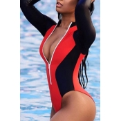 Lovely Trendy Color Lump Patchwork Red One-piece Swimwear