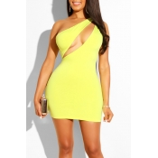Lovely Sexy One Shoulder Yellow Mini Dress