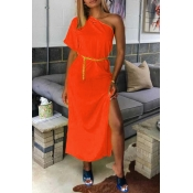 Lovely Casual One Shoulder Orange Mid Calf Dress(Without Belt)