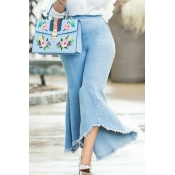Lovely CasualHigh Waist Denim Flared Trousers