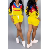 Lovely Casual Patchwork Yellow Two-piece Shorts Set