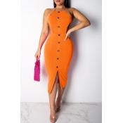 Lovely Sexy Backless Orange Mid Calf Sheath Dress(