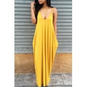 Lovely Casual V Neck Asymmetrical Yellow Blending