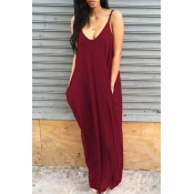Lovely Casual V Neck Asymmetrical Wine Red Blendin