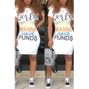 Lovely Casual Letters Printed White Knee Length Dr