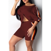 Lovely Casual Striped Wine Red Two-piece Shorts Set