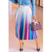 Lovely Casual Color Block Ankle Length A Line Skir