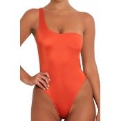 Lovely Sexy One Shoulder Jacinth  One-piece Swimwear
