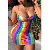 Lovely Sexy Striped Multicolor Mini Dress(With Ela