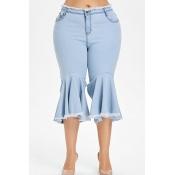 Lovely Stylish Tassel Design Light Blue Flared Trousers