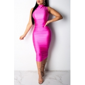 Lovely Fashion Sleeveless Rose Red Dress(With Elas