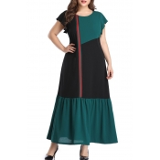 Lovely Leisure Patchwork Green Ankle Length A Line
