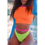 Lovely Casual Patchwork  Jacinth Two-piece Swimwear