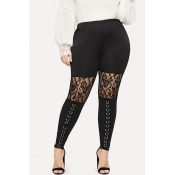 Lovely Plus-size Patchwork Black Pants