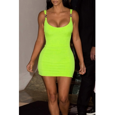 Lovely Sexy Spaghetti Strap Green Mini Dress