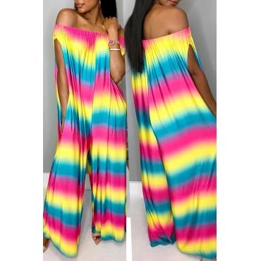 Lindo Arco-íris Casual Impresso Multicolor One-piece Jumpsuit