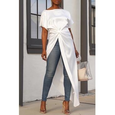 Lovely Casual Asymmetrical White Blouses