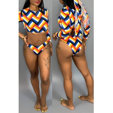 Lovely Casual Geometric Printed Multicolor Bikinis