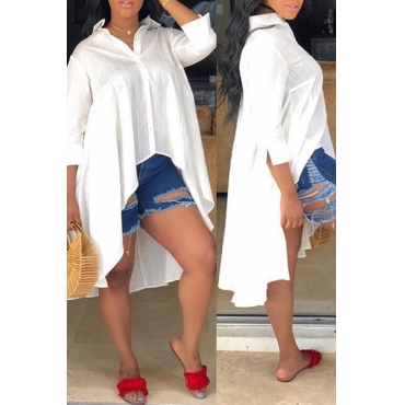 Lovely Casual  After Short Before Long White Blouses