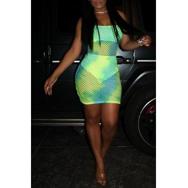 Lindo Mini Vestido Verde Escavado Com Decote Em U (com Calcinha)