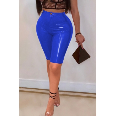 Lovely Trendy Skinny Blue PU Shorts