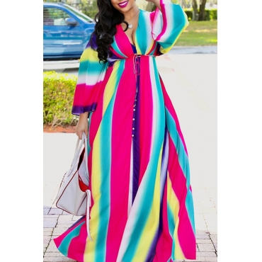Lovely Sweet Gradual-change Multicolor Ankle Length Dress