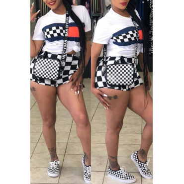 Lovely Casual Plaid Printed White Two-piece Shorts Set
