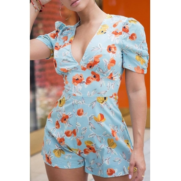 Lovely Sweet Floral Printed Baby Blue One-piece Rompers