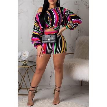 Conjunto De Shorts De Duas Peças Multicolor Listrado Na Moda Adorável