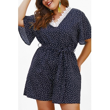 Lovely Plus-size Dots Printed Navy Blue One-piece Rompers