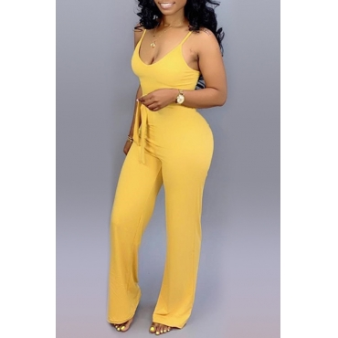 Lovely Yellow Lace-up Jumpsuit(With Elastic)