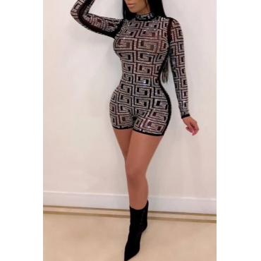 Lovely Sexy Patchwork Skinny Romper(With Elastic)