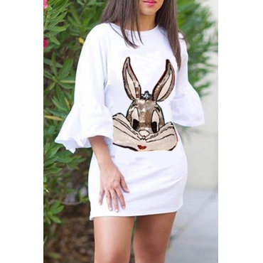 Lovely Casual  Flare Sleeves Sequined  White Mini Dress