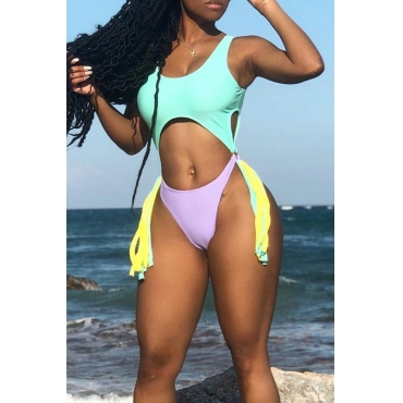 Lovely Sexy Hollow-out Tasell Design Green One-piece Swimwear