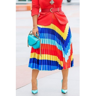 Lovely Leisure Color Block Ankle Length A Line Skirts