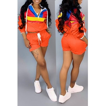 Lovely Casual Patchwork Orange Two-piece Shorts Set