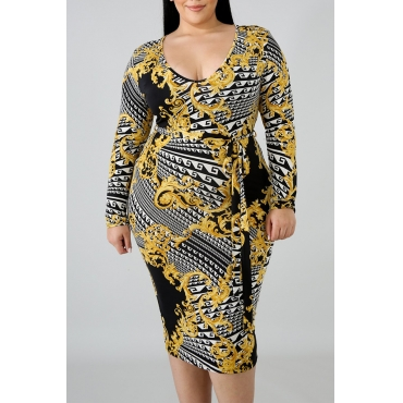 Lovely Plus-size Printed Yellow  Mid Calf Dress