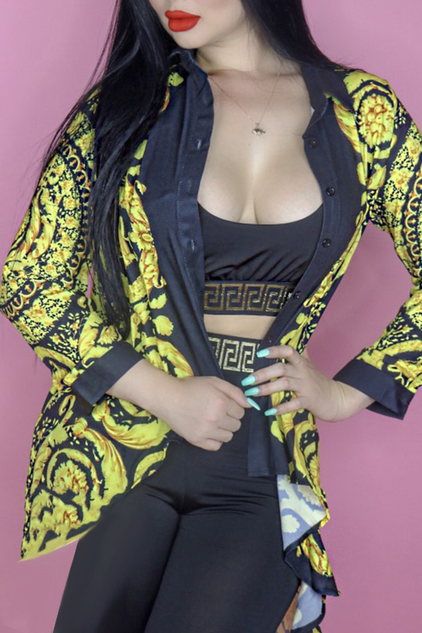Lovely Trendy Patchwork Gold Coat(Without Belt)