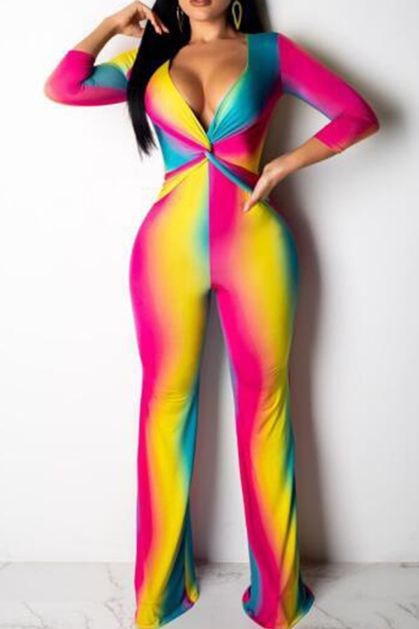 Lovely Bohemian Printed Multicolor One-piece Jumpsuit(With Elastic) фото