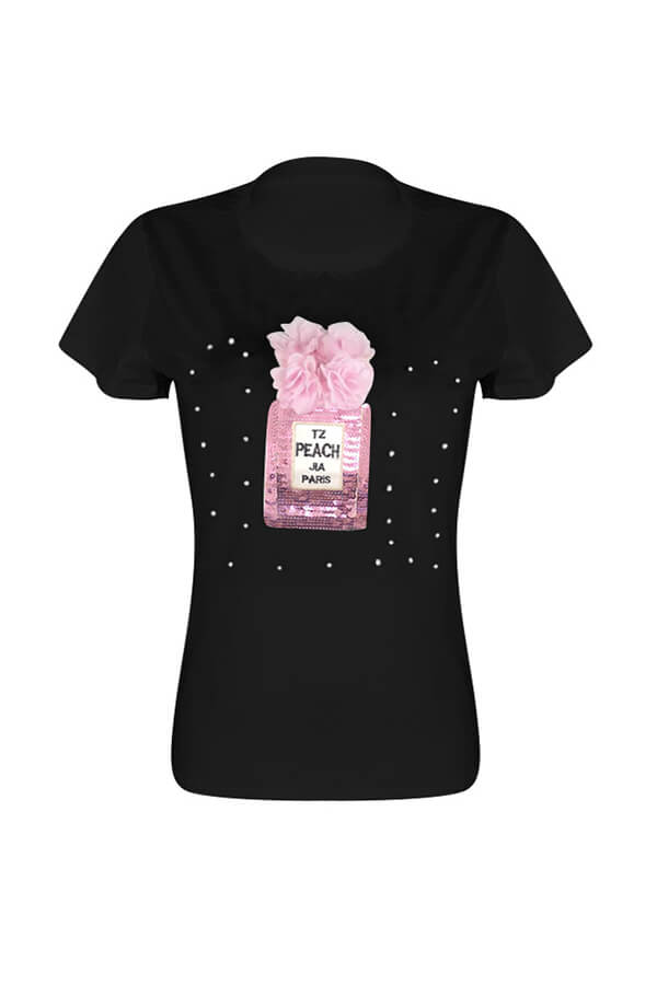 Lovely Casual Sequined Decorative Black T-shirt