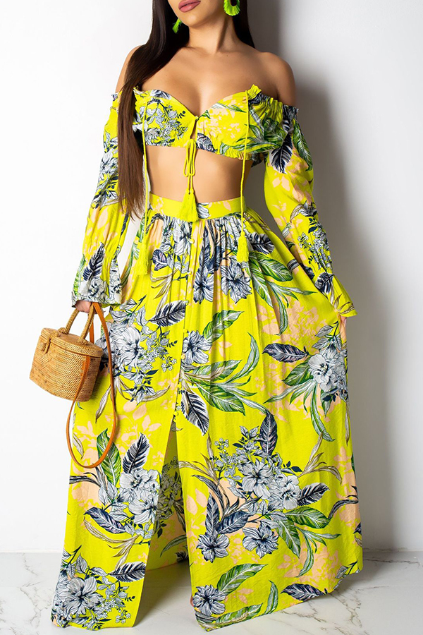 Lovely Bohemian Floral Printed Yellow Two-piece Skirt Set