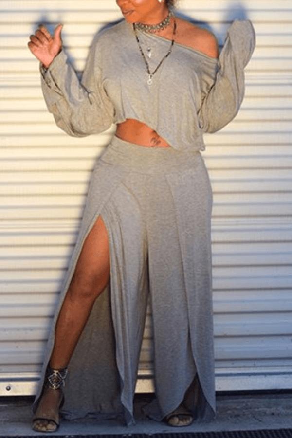 Lovely Trendy Side High SlitGrey Two-piece Pants Set
