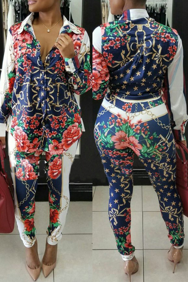 Lovely Casual Floral Printed Two-Piece Pants Set