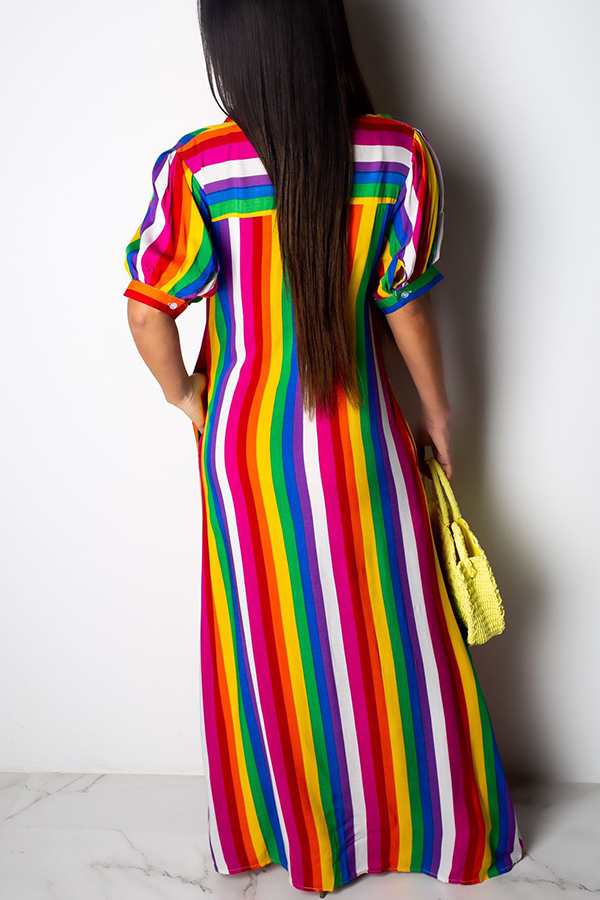 Lovely Bohemian Striped Multicolor Dress(With Elastic)