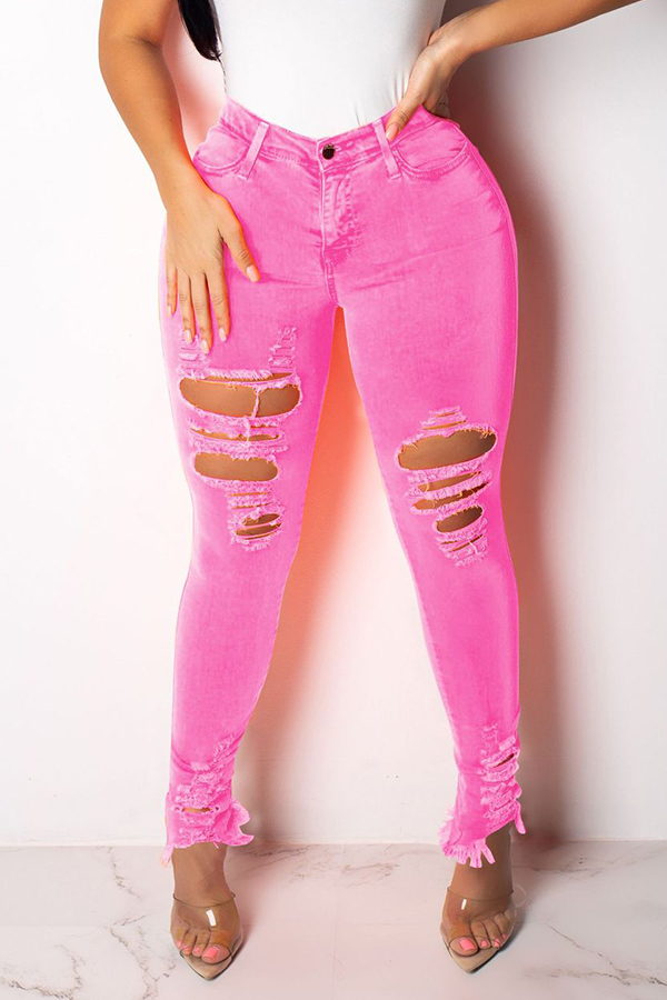 Lovely Casual High Waist Broken Holes Light Pink Jeans