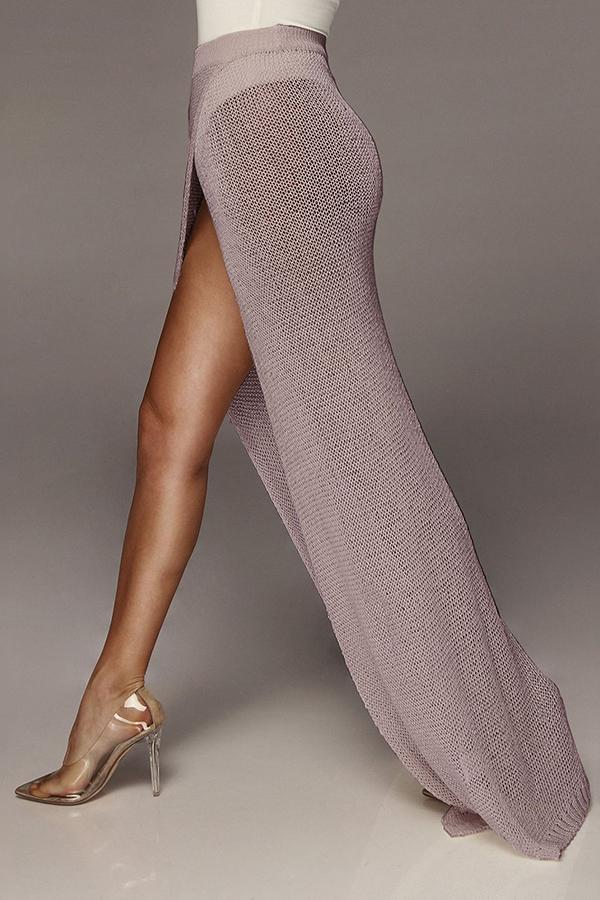 Lovely Women's High Split Khaki Ankle Length A Line Skirts