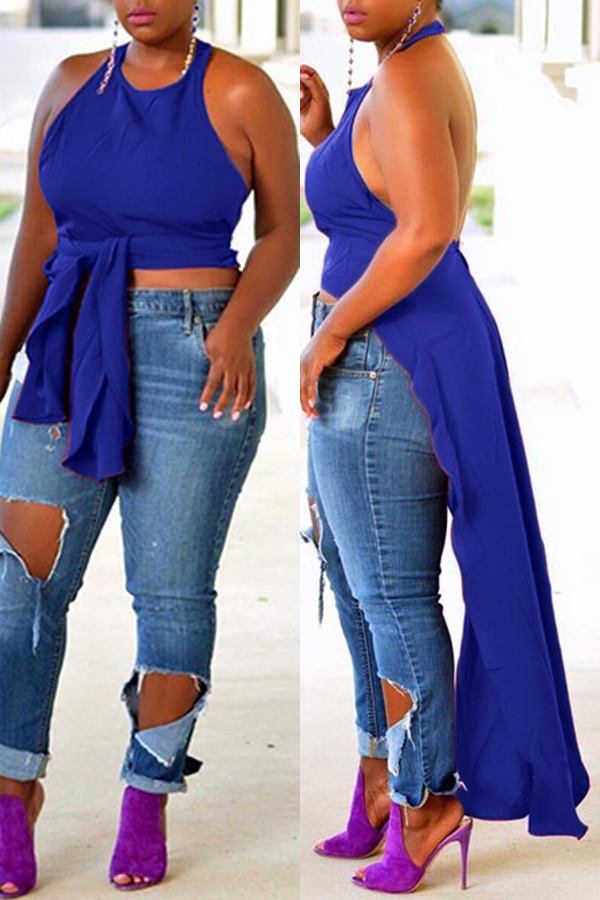lovelywholesale / Cheap Blouses&Shirts Lovely Sexy Backless Blue Blouse