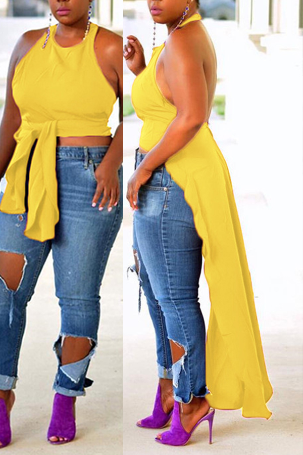 Lovely Sexy Backless Yellow Blouse